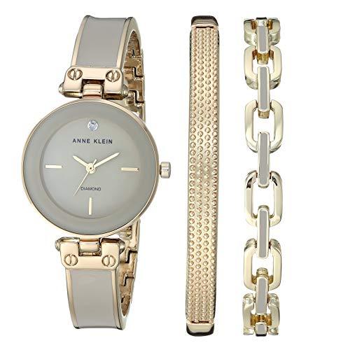 アンクライン 腕時計 レディース 【送料無料】Anne Klein Women's Genuine Diamond Dial Gold-Tone and Tan Bangle Watch with Bracelet Set, AK/3346TNSTアンクライン 腕時計 レディース