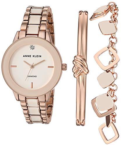 アンクライン 腕時計 レディース Anne Klein Women's Genuine Diamond Dial Rose Gold-Tone and Blush Pink Watch with Bracelet Set, AK/3348BHSTアンクライン 腕時計 レディース