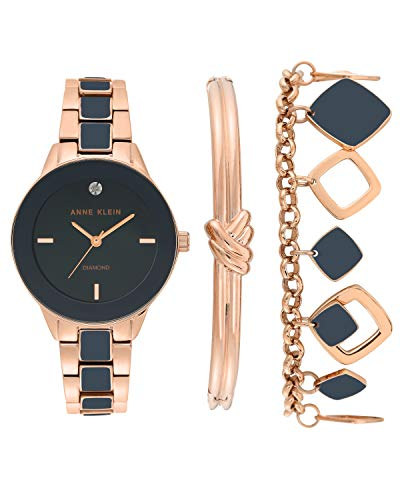 アンクライン 腕時計 レディース Anne Klein Women's Genuine Diamond Dial Rose Gold-Tone and Navy Blue Watch with Bracelet Set, AK/3348NRSTアンクライン 腕時計 レディース