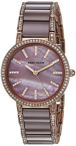 アンクライン 腕時計 レディース 【送料無料】Anne Klein Women's AK/3306MVRG Swarovski Crystal Accented Rose Gold-Tone and Mauve Ceramic Bracelet Watchアンクライン 腕時計 レディース