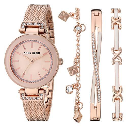アンクライン 腕時計 レディース 【送料無料】Anne Klein Women's Swarovski Crystal Accented Rose Gold-Tone Textured Bangle Watch and Bracelet Set, AK/3394BHSTアンクライン 腕時計 レディース