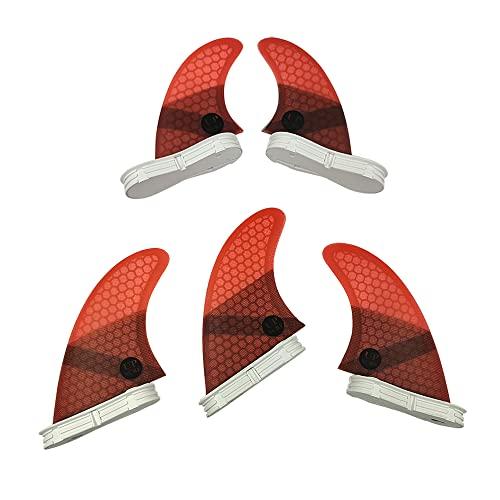 サーフィン フィン マリンスポーツ 【送料無料】UPSURF FCS II Surfboard Fin M Size Fiberglass+Honeycomb Tri-Quad Fin Set (Red G5+GL)サーフィン フィン マリンスポーツ