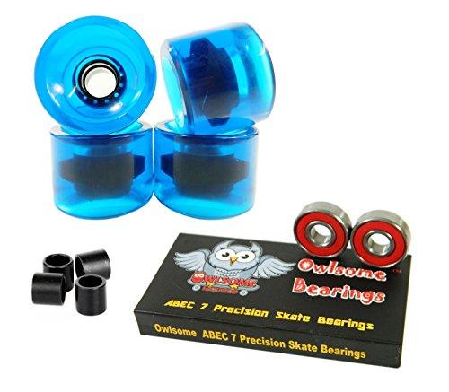 ベアリング スケボー スケートボード 海外モデル 直輸入 Owlsome ABEC 7 Precision Bearings + 76mm Longboard Skateboard Wheels (Gel Blue)ベアリング スケボー スケートボード 海外モデル 直輸入