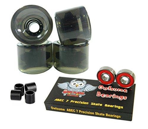 ベアリング スケボー スケートボード 海外モデル 直輸入 Owlsome ABEC 7 Precision Bearings + 76mm Longboard Skateboard Wheels (Gel Smoke)ベアリング スケボー スケートボード 海外モデル 直輸入