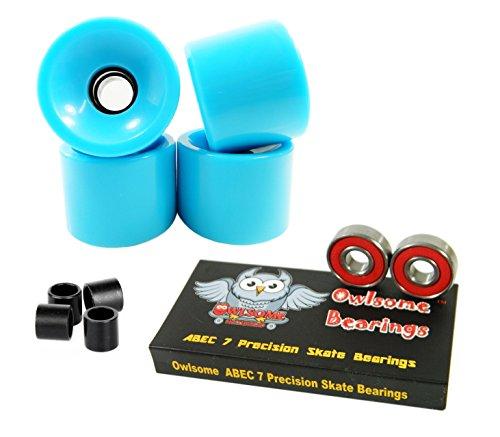 ベアリング スケボー スケートボード 海外モデル 直輸入 Owlsome ABEC 7 Precision Bearings + 76mm Longboard Skateboard Wheels (Solid Baby Blue)ベアリング スケボー スケートボード 海外モデル 直輸入
