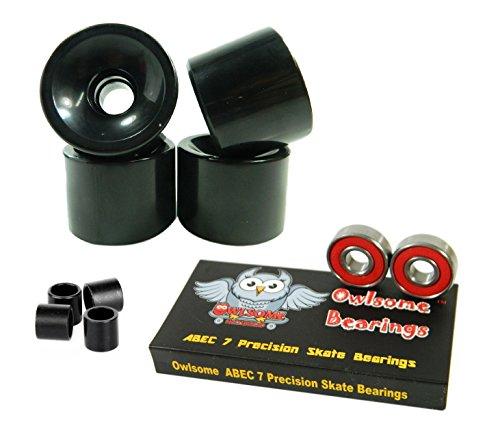 ベアリング スケボー スケートボード 海外モデル 直輸入 Owlsome ABEC 7 Precision Bearings + 76mm Longboard Skateboard Wheels (Solid Black)ベアリング スケボー スケートボード 海外モデル 直輸入