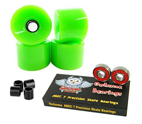 ベアリング スケボー スケートボード 海外モデル 直輸入 Owlsome ABEC 7 Precision Bearings + 76mm Longboard Skateboard Wheels (Solid Green)ベアリング スケボー スケートボード 海外モデル 直輸入