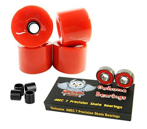 ベアリング スケボー スケートボード 海外モデル 直輸入 Owlsome ABEC 7 Precision Bearings + 76mm Longboard Skateboard Wheels (Solid Red)ベアリング スケボー スケートボード 海外モデル 直輸入