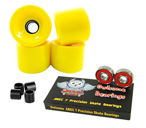 ベアリング スケボー スケートボード 海外モデル 直輸入 Owlsome ABEC 7 Precision Bearings + 76mm Longboard Skateboard Wheels (Solid Yellow)ベアリング スケボー スケートボード 海外モデル 直輸入