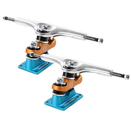 トラック スケボー スケートボード 海外モデル 直輸入 Gullwing Sidewinder II 185mm Hi Silver / Orange / Blue Longboard Trucks - 10