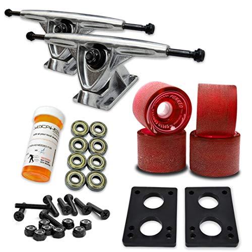 トラック スケボー スケートボード Trucks Wheel-Polished 海外モデル 直輸入 直輸入 071-Gel Red Wheel-Polished Trucks Yocaher Longboard Skateboard Trucks Combo Set w/ 71mm Wheels + 9.675