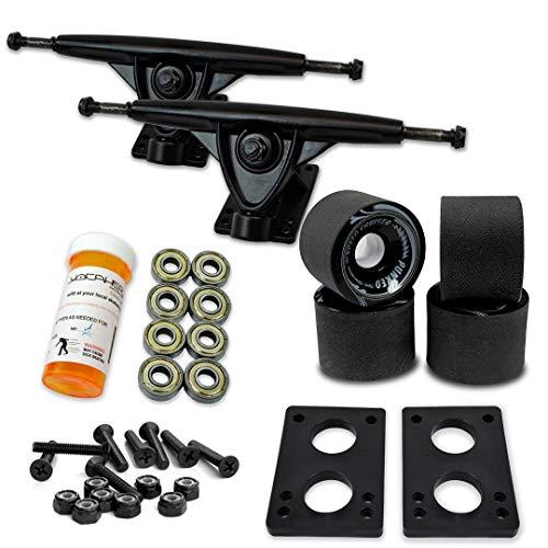 トラック スケボー スケートボード 海外モデル 直輸入 071-Solid Black Wheel-Black Trucks Yocaher Longboard Skateboard Trucks Combo Set w/ 71mm Wheels + 9.675