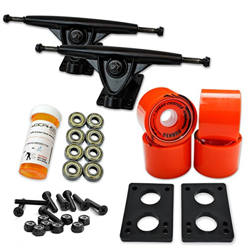 トラック スケボー スケートボード 海外モデル 直輸入 071-Solid Orange Wheel-Polished Trucks Yocaher LONGBOARD Skateboard TRUCKS COMBO set w/ 71mm WHEELS + 9.675