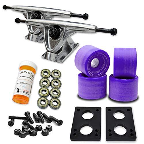 トラック スケボー スケートボード 海外モデル 直輸入 071-Solid Purple Wheel-Polished Trucks Yocaher Longboard Skateboard Trucks Combo Set w/ 70mm Wheels + 9.675