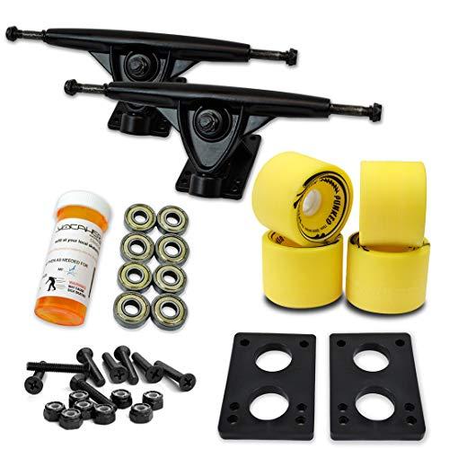 トラック スケボー スケートボード 海外モデル 直輸入 071-Solid Yellow Wheel-Black Trucks Yocaher LONGBOARD Skateboard TRUCKS COMBO set w/ 71mm WHEELS + 9.675