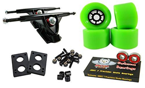 トラック スケボー スケートボード 海外モデル 直輸入 Longboard 180mm Trucks Combo w/83mm Flywheels + Owlsome ABEC 7 Bearings (Green)トラック スケボー スケートボード 海外モデル 直輸入