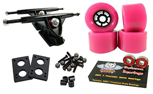 トラック スケボー スケートボード 海外モデル 直輸入 Longboard 180mm Trucks Combo w/83mm Flywheels + Owlsome ABEC 7 Bearings (Pink)トラック スケボー スケートボード 海外モデル 直輸入