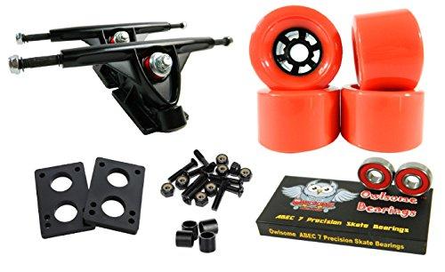 トラック スケボー スケートボード 海外モデル 直輸入 Longboard 180mm Trucks Combo w/83mm Flywheels + Owlsome ABEC 7 Bearings (Red)トラック スケボー スケートボード 海外モデル 直輸入