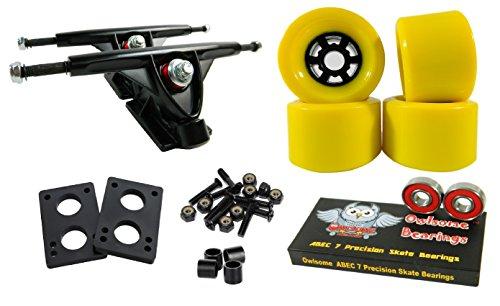 トラック スケボー スケートボード 海外モデル 直輸入 Longboard 180mm Trucks Combo w/83mm Flywheels + Owlsome ABEC 7 Bearings (Yellow)トラック スケボー スケートボード 海外モデル 直輸入