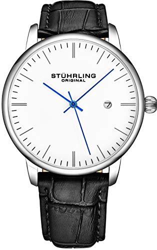 腕時計 ストゥーリングオリジナル メンズ 【送料無料】Stuhrling Original Mens Watch Black Leather Strap - Dress + Casual Design - White Analog Watch Dial with Date, 3997Z Watches for Men Collection腕時計 ストゥーリングオリジナル メンズ