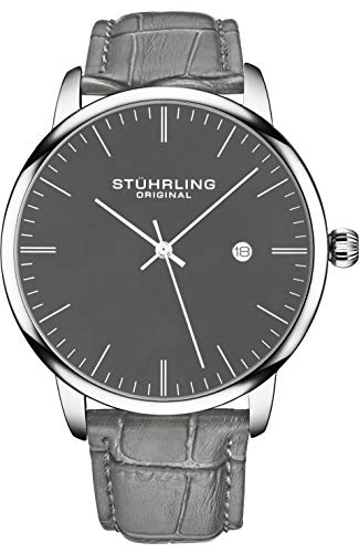 腕時計 ストゥーリングオリジナル メンズ 【送料無料】Stuhrling Original Mens Watch Calfskin Leather Strap - Dress + Casual Design - Analog Watch Dial with Date, 3997Z Watches for Men Collection (Grey Black)腕時計 ストゥーリングオリジナル メンズ