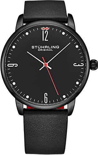 ストゥーリングオリジナル 腕時計 メンズ Stuhrling Original Watch for Men Black Leather Strap with Red Contrast - Black Dial with White and Red Accents - Black PVD Case, 3997B Watches for Men Collectionストゥーリングオリジナル 腕時計 メンズ