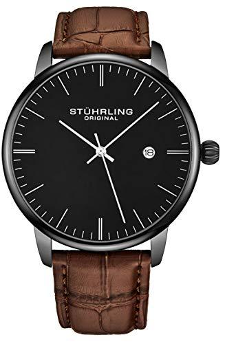 ストゥーリングオリジナル 腕時計 メンズ 【送料無料】Stuhrling Original Mens Watch Calfskin Leather Strap - Dress + Casual Design - Analog Watch Dial with Date, 3997Z Watches for Men Collection (Black Brown)ストゥーリングオリジナル 腕時計 メンズ