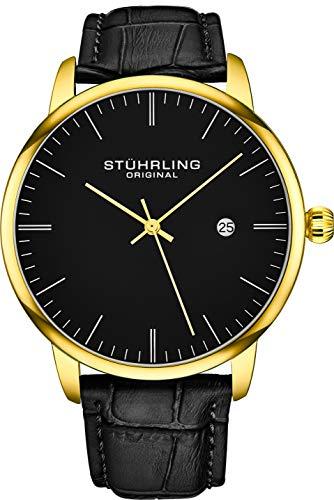 腕時計 ストゥーリングオリジナル メンズ 【送料無料】Stuhrling Original Mens Watch Calfskin Leather Strap - Dress + Casual Design - Analog Watch Dial with Date, 3997Z Watches for Men Collection (Black Gold)腕時計 ストゥーリングオリジナル メンズ