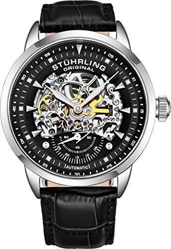 ストゥーリングオリジナル 腕時計 メンズ 【送料無料】Stuhrling Original Mens Watch-Automatic Watch Skeleton Watches for Men - Black Leather Watch Strap Mechanical Watch Silver Executive Watch Collection (Blaストゥーリングオリジナル 腕時計 メンズ