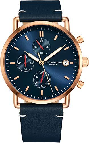 ストゥーリングオリジナル 腕時計 メンズ 【送料無料】Stuhrling Original Chronograph Mens Watch Leather Watch Band Silver Dial with Date Minimalist Style 38mm Case - 3903 Watches for Men Collection (Blue/Roseストゥーリングオリジナル 腕時計 メンズ