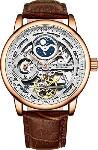腕時計 ストゥーリングオリジナル メンズ 【送料無料】St?hrling Original Rose Gold Watch for Men Skeleton Watch Dial Automatic Watch Movement - Dual Time, AM/PM Sun Moon, Genuine Leather Band, 3917 Watch Men腕時計 ストゥーリングオリジナル メンズ