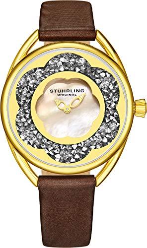 ストゥーリングオリジナル 腕時計 レディース 【送料無料】Stuhrling Original Womens Watches with Mother of Pearl Face with Gold Watch Case- Analog Dress Watch with Satinized Brown Leather Strap Wrist Watcストゥーリングオリジナル 腕時計 レディース