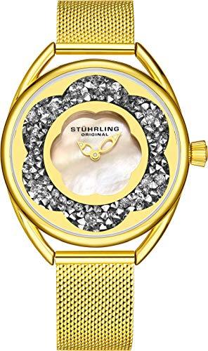 ストゥーリングオリジナル 腕時計 レディース 【送料無料】Stuhrling Original Womens Watches with Mother of Pearl Face with Gold Watch Case- Analog Dress Watch with Stainless Steel mesh Bracelet Wrist Watcストゥーリングオリジナル 腕時計 レディース