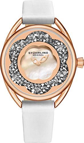 ストゥーリングオリジナル 腕時計 レディース 【送料無料】Stuhrling Original Womens Watches with Mother of Pearl Face with Rose Gold Watch Case- Analog Dress Watch with Satinized White Leather Strap Wristストゥーリングオリジナル 腕時計 レディース