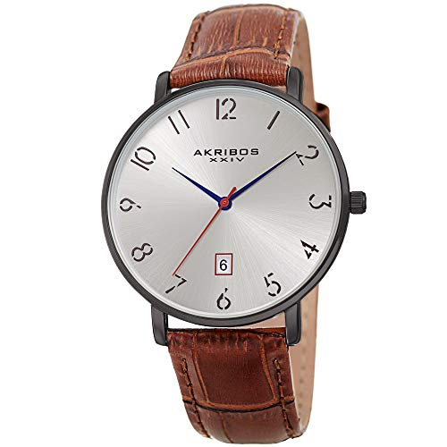 アクリボスXXIV 腕時計 メンズ 【送料無料】Father's Day Gift - Akribos Designer Men's Watch ? Stylish Genuine Leather or Stainless Steel Bracelet Wristwatch (Gunmetal Case/Brown Strap)アクリボスXXIV 腕時計 メンズ