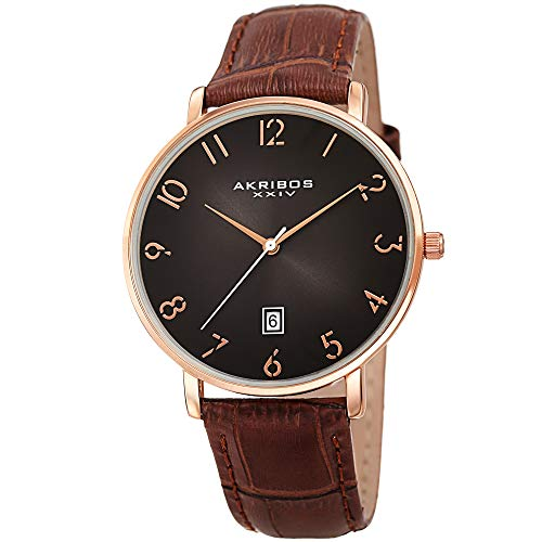 アクリボスXXIV 腕時計 メンズ 【送料無料】Father's Day Gift - Akribos Designer Men's Watch ? Stylish Genuine Leather or Stainless Steel Bracelet Wristwatch (Rose Gold Case/Brown Strap)アクリボスXXIV 腕時計 メンズ