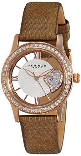 """アクリボスXXIV 腕時計 レディース 【送料無料】Akribos XXIV Women's Swarovski Crystal Watch - See Thru Roman Numerals Cut Out Crystal Heart Dial Wave Pattern """"Floating"""" Dial With Date On Satin Strap - AK811アクリボスXXIV 腕時計 レディース"""