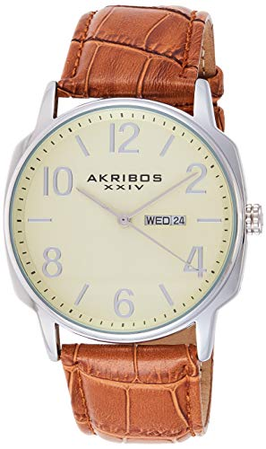 アクリボスXXIV 腕時計 メンズ 【送料無料】Akribos XXIV Men's Canvas Classic Watch - Clear Arabic Numerals With Date Window On a Comfortable Covered Genuine Leather Strap - AK801アクリボスXXIV 腕時計 メンズ