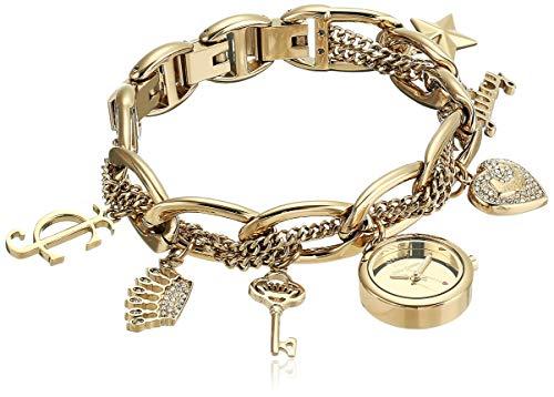 ジューシークチュール レディース 【送料無料】Juicy Couture Black Label Women's JC/1040GPCH Swarovski Crystal Accented Gold-Tone Charm Bracelet Watchジューシークチュール レディース