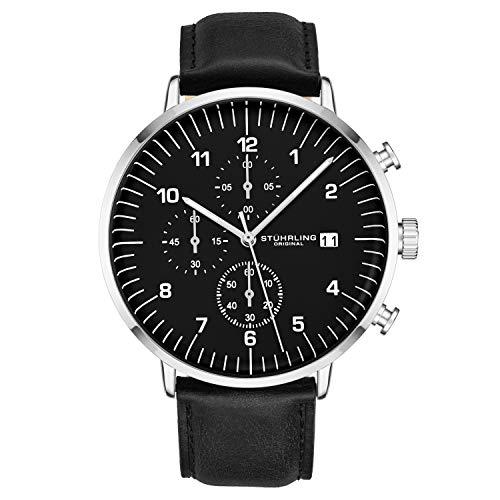 ストゥーリングオリジナル 腕時計 メンズ 【送料無料】Stuhrling Original Chronograph Watches for Men Black Leather Watch Band Black Dial and Silver Case with Date - 3911 Mens Watches Collectionストゥーリングオリジナル 腕時計 メンズ