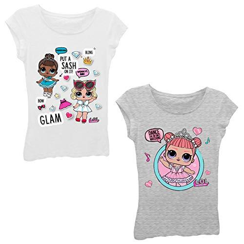 エルオーエルサプライズ 人形 ドール 【送料無料】L.O.L Surprise! Girls T-Shirt Set - 2 Pack of LOL Surprise Tees - Lil Outrageous Littles T-Shirts (White/HeatherGrey, S-4)エルオーエルサプライズ 人形 ドール