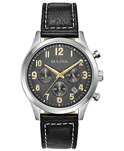 ブローバ 腕時計 メンズ 【送料無料】Bulova Mens Chronograph Quartz Watch with Leather Strap 96B302ブローバ 腕時計 メンズ