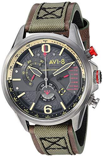 アヴィエイト アビエイト 腕時計 メンズ イギリス 【送料無料】AVI-8 Men's 'Hawker Harrier II' Quartz Stainless Steel and Leather Aviator Watch, Color:Green (Model: AV-4056-03)アヴィエイト アビエイト 腕時計 メンズ イギリス