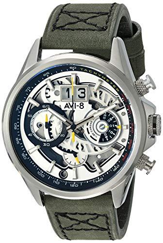 アヴィエイト アビエイト 腕時計 メンズ イギリス 【送料無料】AVI-8 Men's Matador Stainless Steel Japanese-Quartz Aviator Watch with Leather Strap, Green, 21.5 (Model: AV-4065-01)アヴィエイト アビエイト 腕時計 メンズ イギリス