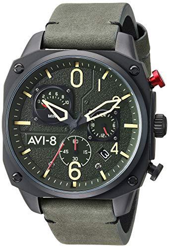 アヴィエイト アビエイト 腕時計 メンズ イギリス 【送料無料】AVI-8 Men's Hawker Hunter Stainless Steel Japanese-Quartz Leather Strap, Green, 21.5 Casual Watch (Model: AV-4052-08)アヴィエイト アビエイト 腕時計 メンズ イギリス