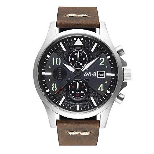 アヴィエイト アビエイト 腕時計 メンズ イギリス 【送料無料】AVI-8 Men's Hawker Hurricane 45mm Brown Leather Band Steel Case Quartz Black Dial Analog Watch AV-4068-01アヴィエイト アビエイト 腕時計 メンズ イギリス