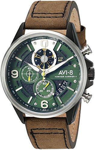 アヴィエイト アビエイト 腕時計 メンズ イギリス 【送料無料】AVI-8 Men's Hawker Harrier II Stainless Steel Japanese-Quartz Aviator Watch with Leather Strap, Green, 22 (Model: AV-4051-02)アヴィエイト アビエイト 腕時計 メンズ イギリス