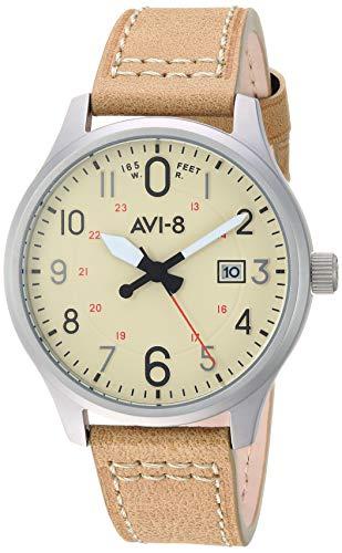アヴィエイト アビエイト 腕時計 メンズ イギリス 【送料無料】AVI-8 Men's Hawker Hurricane Stainless Steel Japanese-Quartz Aviator Watch with Leather Strap, Brown, 19.9 (Model: AV-4053-0H)アヴィエイト アビエイト 腕時計 メンズ イギリス