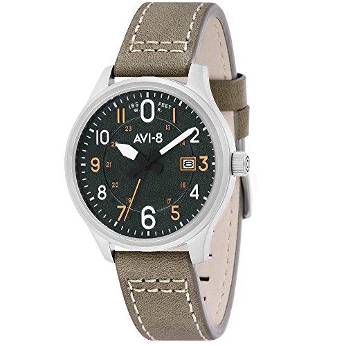 アヴィエイト アビエイト 腕時計 メンズ イギリス 【送料無料】AVI-8 Men's Hawker Hurricane Stainless Steel Japanese-Quartz Aviator Watch with Leather Calfskin Strap, Green, 22 (Model: AV-4053-0G)アヴィエイト アビエイト 腕時計 メンズ イギリス