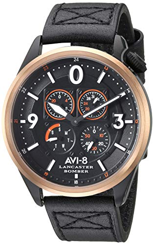 アヴィエイト アビエイト 腕時計 メンズ イギリス 【送料無料】AVI-8 Men's Lancaster Bomber Stainless Steel Japanese-Quartz Leather Strap, Black, 21.5 Casual Watch (Model: AV-4050-05)アヴィエイト アビエイト 腕時計 メンズ イギリス